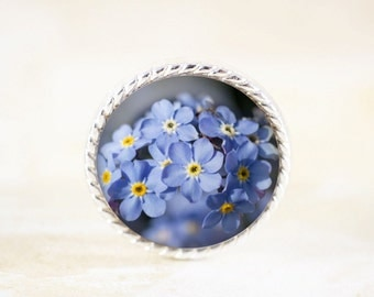 Forget Me Not Brooch - Silver Flower Pin, Blue Wildflower Brooch, Blue Flower Jewelry Pin, Forget-Me-Not Jewelry Brooch, Wildflower Jewelry