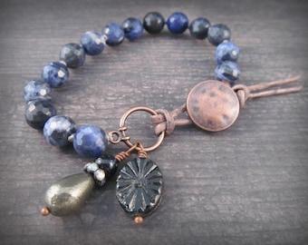 Indigo Blue Knotted Bracelet, Boho Blue Denim, gemstone stacking bracelet, Bohemian Jewelry