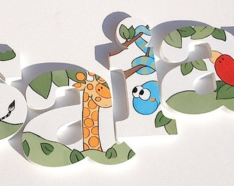 Jungle Animal Wooden Wall Name Letters / Hangings, Hand Painted for Kids Rooms, Play Rooms and Nursery Rooms