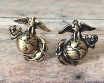 USMC Cufflinks Marine Corp Cufflinks - made with Marine lapel pins
