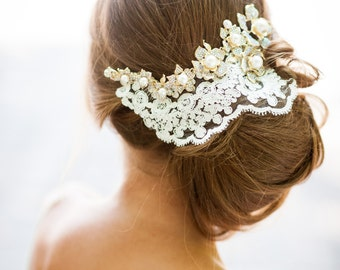 GOLD crystals and ivory lace hair accessory. Handmade bridal lace hair piece. Bridal lace fascinator. Lace hair piece. Wedding hair crown