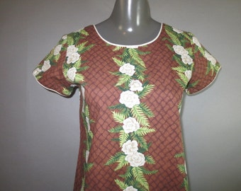 KAD Hawaiian Cotton Maxi Dress // Brown With Hibiscus // Short Sleeves White Piping...Small
