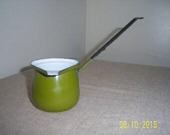 Enamelware Turkish Coffe Pot - Pouring Cup - Butter Warmer - Chocolate Melter - Ladle - Scoop - Tea Pot -  Enamel