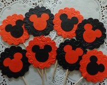 12 Large Mickey Mouse Halloween Cupcake Toppers - Damask Embossed - Double Sided - Food Picks - Party Picks - Halloween Decor
