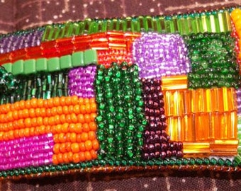 Bead embroidered tribute to Gees Bend quilters cuff bracelet