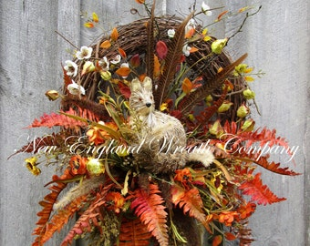 Fall Wreath, Autumn Wreaths, Thanksgiving, Harvest, Designer Wreath, Woodland, Fall Floral, Wildlife Wreath