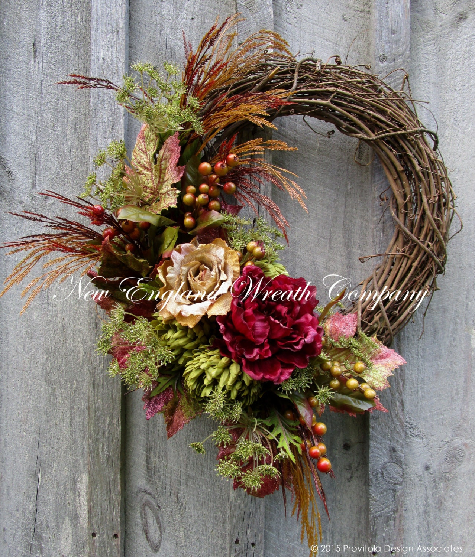 Fall Door Arrangements: Fall Wreath Autumn Wreaths Thanksgiving Harvest Designer