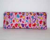 """Pipe Pouch, Hearts Pipe Case, Pipe Bag, Pink Pouch, Padded Pouch, Stoner Gift, Cute Pouch, Girly Pipe Pouch, Glass Chillum Cozy - 7.5"""" LARGE"""