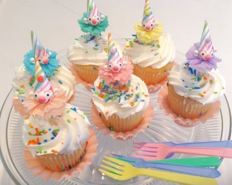 Pastel Clown Cupcake Toppers