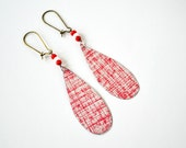 Earth Friendly Repurposed Vintage Tin Earrings/ Boho Style/ Red Etched