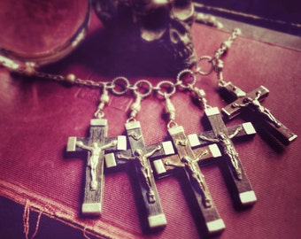 Mens Cross Necklace.  Van Helsing Exorcist Necklace.  Unisex Goth Slayer Horror Halloween Jewellery