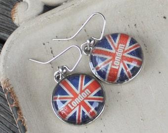 London Union Jack Earrings - British flag earrings, resin charm earrings, red and blue earrings, flag earrings, british jewelry