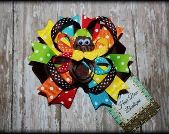 Thanksgiving fall hair bow Turkey Hair clip and boutique bow Thanksgiving hair bow M2M mud pie