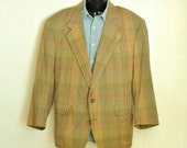 1980's Vintage Mens Blazer Jacket Summer Fashion Pastel Plaid 46S 46R Sport Coat Gold Pink Pale Green Quarter Lined