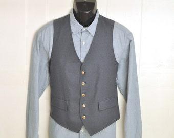 Mens Vest Vintage Waistcoat Mens Large 44 - 46 XL S Blue w/ Gold & Black Metal Buttons Palm Beach Vintage Mens Fashion Dapper Menswear