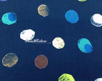 Colorful dots, on dark blue, fat quarter, pure cotton canvas fabric