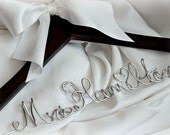 Quality SOLID Wood Personalized Hanger With Satin Bow, Walnut & Other Finishes