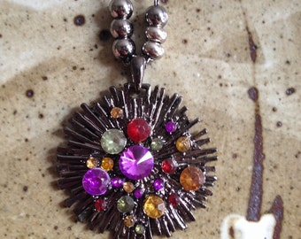 Star burst jeweled pendant, bohemian jewelry