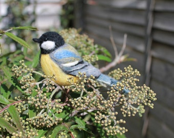Needle Felted Great Tit Sculpture Art
