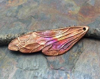 Artisan Copper PMC Fairy Wing Pendant