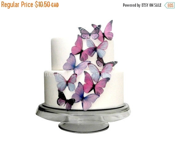 Cake Topper Sale Cupcakes EDIBLE BUTTERFLY Cake - 12 Large Prettiest Purple - Cupcakes, Cake Decorations, Toppers