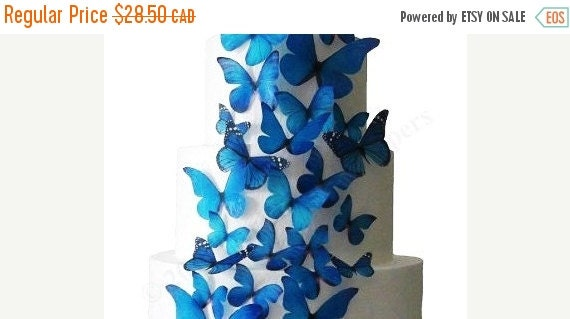 CAKE TOPPER SALE Wedding Wedding Cake Topper Winter Wedding - The Stella 30 Edible Butterflies - Wedding Cake Decorations, Cake Toppers