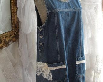 Jean dress jumper boho chic