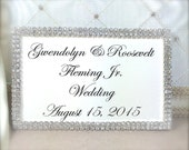 Personalized Name Plate, Wedding Card Name Plate, Silver Rhinestone Edged, Calligraphy, Name Card, Place Card, Escort Card