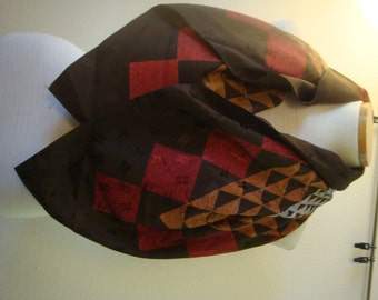Large Square Vintage Mens Ascot Cravat Paisley Brown Geometric Red Gold