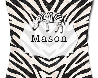 Personalized Zebra Stripes Throw Pillow