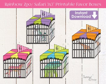 """Zoo Party / Safari Party  Treat box (instant download) 3x3"""" printable favor boxes"""