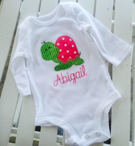 Baby girl Onesie Personalized Monogrammed Turtle Appliqued baby onesie