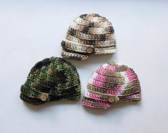 Newsboy Camouflage Cap Baby Boy or Baby Girl Crochet Hat and Photography Prop All Sizes from Newborn to Adult