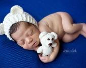 Newborn Teddy Bear Bonnet and Teddy Bear, Newborn Photo Prop, Newborn Teddy Bear Set, Baby Bear Bonnet and Stuffie, Baby Teddy Bear Set