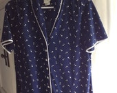 Vintage Late 60s Early 70s Sexy Schoolmarm Dotted Navy Dress With White Piping in Today's Size 14-16