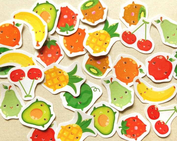 Fruits Planner Stickers. Cute Food Sticker Pack. by ...