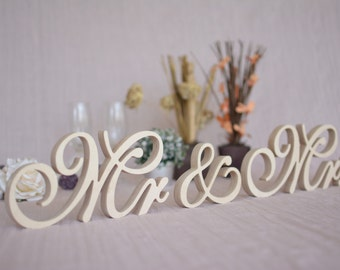 Mr Mrs table signs. Wedding signs Mr Mrs set. Top table Mr and Mrs wooden signs. Wedding table decor.