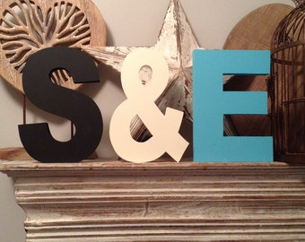 Set of 3 - Handpainted Wooden Freestanding Wedding Letters 20cm, Photo Props - various colours and finishes