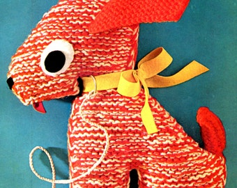 1960's Knitted Puppy Dog Stuffed Animal Pattern Instant Download PDF