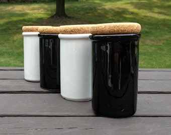 Vintage Italy Black and White Ceramic Jars with Cork Stoppers