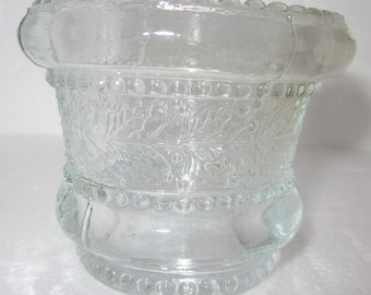 Antique Vintage Glass Beaded Holly band Toothpick Holder,charming glass,Shabby Chic,tabletop
