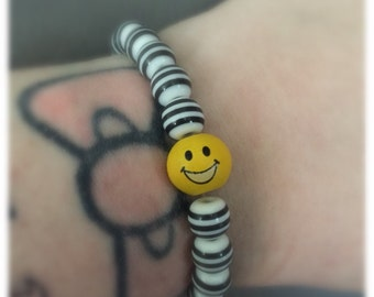 Black And White Striped Smiley Face Bracelet