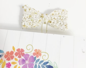 White and Gold Sequin Crochet Bow Planner Clip Clippie Planner ECLP Happy Planner Filofax