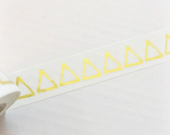Bright Shiny Metallic Gold Foil Triangles Washi Tape 11 yards 10 meters 15mm Gold Foil