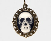 Skull Necklace, Surreal, Metamorphic, Optical Illusion, Gothic, Skeleton Jewelry, Horror, Halloween, Bronze Oval Pendant