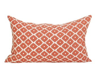Schumacher Ziggurat lumbar pillow cover in Ruby