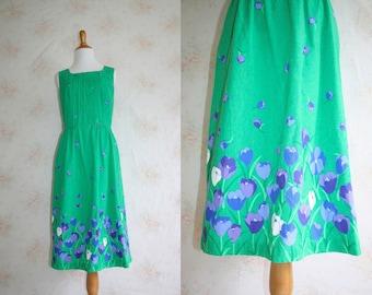Vintage 70s Sundress, 1970s Floral Flower Print Dress, Lanz, Sleeveless