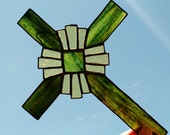 Stained Glass Cross Green