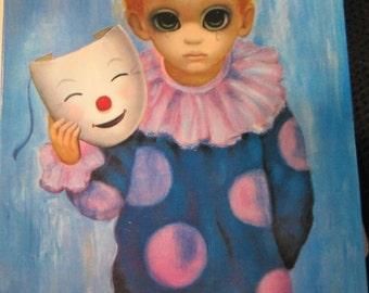 """Walter Margaret Keane BIG EYES Sad Clown Boy """"Happy Mask, Unhappy Boy""""  Blank Greeting Card  kitschy cute"""