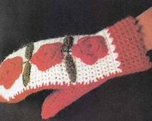 1970s CROCHET FLOWER MITTENS Vintage Pattern, Boho Mitts for Women, Granny Motifs, Hippie/Folk/Retro Instant Pdf from GrannyTakesATrip  0308